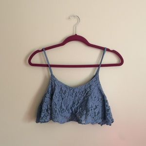 Surf Gypsy Blue Lace Cropped Tanktop Small